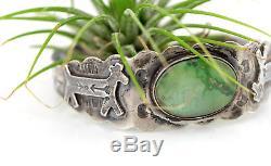 Vtg Sterling Silver Navajo Fred Harvey Era Green Turquoise Horse Cuff Bracelet