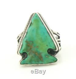 Vtg Sterling Silver Navajo Fred Harvey Era Turquoise Arrowhead Ring sz 5.5