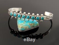 Vtg Sterling Silver Navajo Fred Harvey Era Turquoise Row Cuff Bracelet