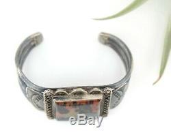 Vtg Sterling Silver Navajo Fred Harvey Petrified Wood Heavy Cuff Bracelet