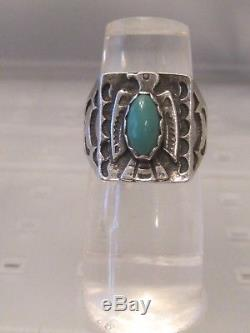 Vtg sterling silver SIGNED Fred Harvey Era turquoise THUNDERBIRD stamped RING