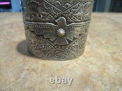 WIDE Old Fred Harvey Era Navajo Sterling Silver APPLIED THUNDERBIRD Bracelet