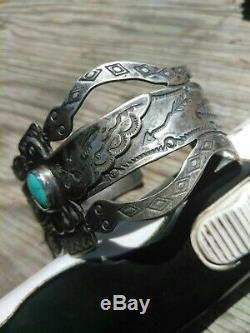 WOW Rare Fred Harvey Sterling SILVER and TURQUOISE Snake Cuff Bracelet nice