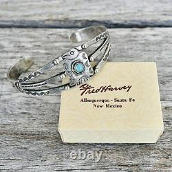 Women's THUNDERBIRD Bracelet Size 6.5 Fred Harvey Vintage Turquoise & Silver