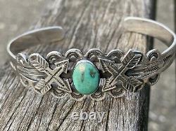Wonderful Coin Silver + Turquoise Arrows Thunderbird Navajo Bracelet Fred Harvey