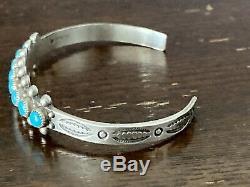 Wonderful Fred Harvey Turquoise Petit Point Sterling Silver Bracelet Navajo Old