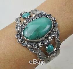 Wonderful green turquoise VTG Fred Harvey sterling silver Navajo cuff bracelet