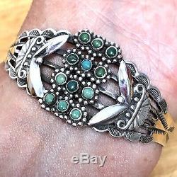 Zuni Cuff Bracelet Turquoise 6.5in 21g Snake Eye Silver VTG Fred Harvey Era 60s
