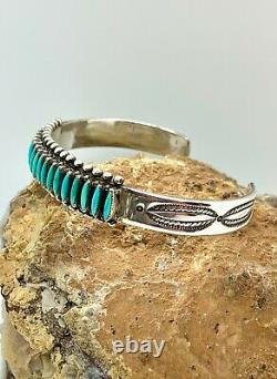 Zuni Fred Harvey Era Sterling Silver Genuine Turquoise Needlepoint Cuff Bracelet