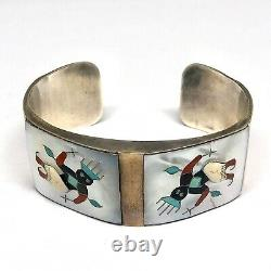Zuni Inlay Cuff Bracelet Signed Tony Ohmsatte 62g 7in Silver 1970s VTG Dancer