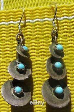 3 Paires Vintage Vieux Pion Fred Harvey Era Boucles D'oreilles Turquoise Sterling Estampillé