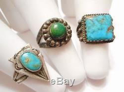 5pc Beaucoup De Fred Harvey Vintage Sterling Silver & Turquoise Bagues & Bracelets