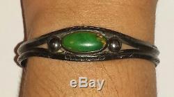 Ancien Bracelet Paw Navajo Fred Harvey Era Vert Turquoise Et Argent Sterling