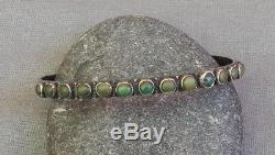 Ancien Vintage Fred Harvey Era Argent Serpent Oeil Vert Turquoise Row Bracelet Manchette