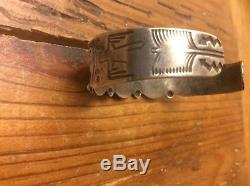 Ancienne Vintage Fred Harvey Era Bracelet Manchette Turquoise Vert Navajo