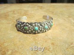 Années 1920 Fred Harvey Era Navajo Indian Handmade Pièce Argent Turquoise Bracelet