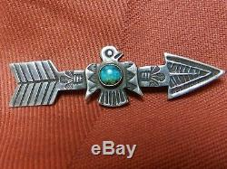 Années 1930 Fred Harvey Era Navajo Argent Massif Argent & Turquoise Broche