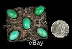 Antique! Fred Harvey Boucle De Ceinture Navajo Thunderbird Turquoise En Argent Sterling