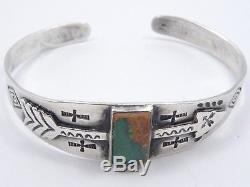 Antique Manchette Fred Harvey Era Navajo Silver & Turquoise Bracelet Manchette