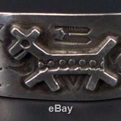 Argent Sterling Vtg Navajo Fred Harvey Era Chaco Chien 6.75 Bracelet Manchette 11g