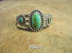 Attractive Bracelet Manchette En Argent Sterling Turquoise Era Navajo Old Fred