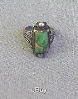 Bague Rectangulaire Turquoise Verte Vintage D'époque Fred Harvey Époque 1
