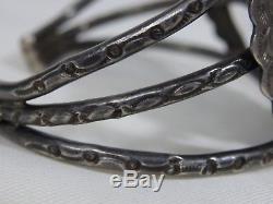 Big 61g Fred Harvey Epoque Native Américain Carico Lake Turquoise Ag Bracelet Ag