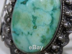 Big 61g Fred Harvey Era Native Américain Bracelet Ag Carico Lake Turquoise Silver