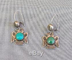 Boucles D'oreilles Pendentif Thunderbird Vintage Turquoise Fred Harvey Era