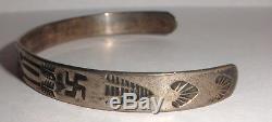 Bracelet À Billes Vintage En Argent Sterling Navajo Fred Harvey Era