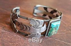 Bracelet À Manchette Argenté Vintage Navajo Turquoise Fred Harvey Railroad Era