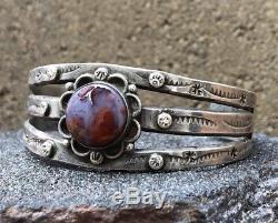 Bracelet À Manchette Estampé En Argent Sterling Avec Agate Navajo Era Fred Harvey