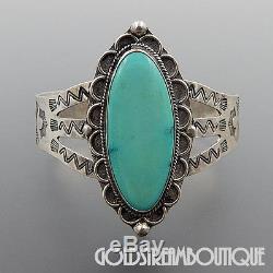 Bracelet À Manchette Large Turquoise Vintage Fred Harvey Era Navajo En Argent Sterling