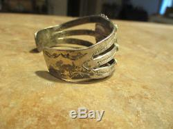 Bracelet En Agate De Bois Pétrifié En Argent Sterling Par Fred Harvey Era Navajo