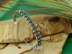 Bracelet En Argent Sterling Avec Fred Vtg Fred Harvey Navajo Vert Turquoise Snake