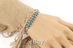Bracelet En Argent Sterling Vtg Navajo Fred Harvey Era Turquoise Row Cuff