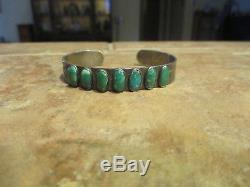 Bracelet Exquis Old Fred Harvey Era Navajo En Argent Sterling Turquoise Row