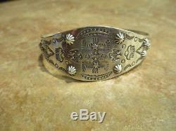 Bracelet Extra Fin Vieux Fred Harvey D'époque Navajo En Argent Sterling À Thunderbird Cloud