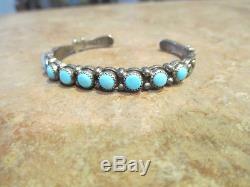 Bracelet Extra-fin Vieux Fred Harvey Époque Navajo En Argent Sterling - Bracelet Row Turquoise