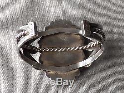 Bracelet Manchette Big Royston Turquoise Vintage Fred Harvey Era Estampé Argent