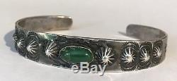 Bracelet Manchette Cerrillos Turquoise Vintage Fred Harvey Navajo Avec Argent Indien, Années 40