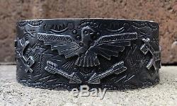Bracelet Manchette De Chien Thunderbird En Argent Sterling Du Vieil Fred Harvey