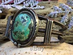Bracelet Manchette En Argent Sterling D'époque Fred Harvey Avec Turquoise Et Vert De Navajo