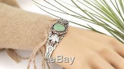 Bracelet Manchette En Argent Sterling Fred Harvey Navajo Vert Turquoise Thunderbird