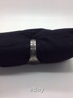 Bracelet Manchette En Argent Sterling Onyx Noir Avec Fred Harvey Era