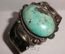 Bracelet Manchette En Argent Sterling Turquoise Vintage Vieux Pion Époque Fred Harvey
