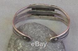 Bracelet Manchette En Argent Turquoise Vert Ancienne Vintage Fred Harvey Era