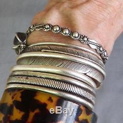 Bracelet Manchette En Argent Vintage Fred Harvey Era Idéal Pour L'empilage