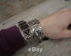 Bracelet Manchette Estampé À La Main En Argent Sterling Vintage Navajo Fred Harvey Era Onyx