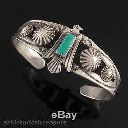 Bracelet Manchette Navajo Fred Harvey Era Coin En Argent Et Turquoise Thunderbird